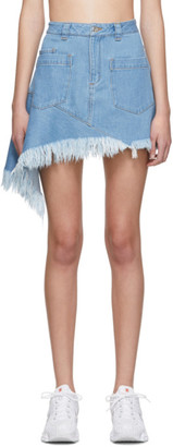 Marques Almeida Blue Denim Asymmetric Miniskirt