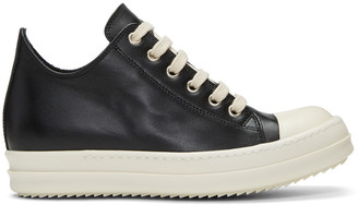 Rick Owens Black Leather Low Sneakers $920 thestylecure.com