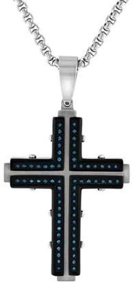 Brilliance+ Brilliance Fine Jewelry Mens Stainless Steel 1/3ctw Blue Diamond Cross Pendant