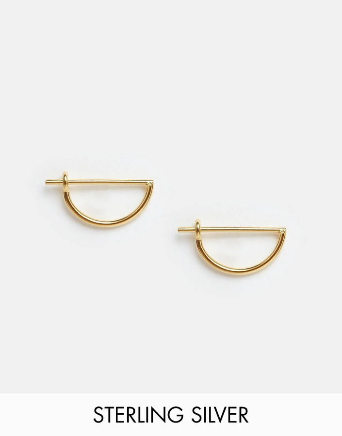 ASOS COLLECTION ASOS Gold Plated Sterling Silver Mini Semi Circle Hoop Earrings