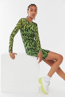 Daisy Street Zebra Mesh Bodycon Mini Dress