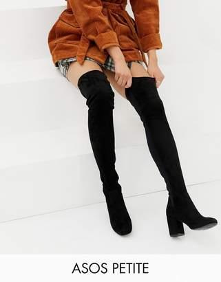 Asos DESIGN Petite Kadi heeled thigh high boots