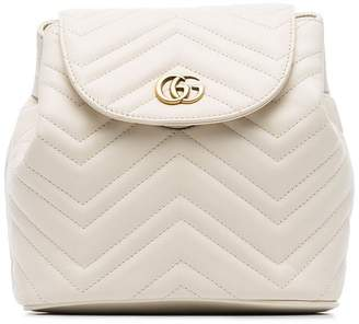 Gucci white Marmont matelassé leather backpack