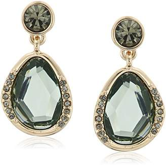 Kenneth Cole New York Scattered Pave Gold Tone And Green Stone Drop Earrings