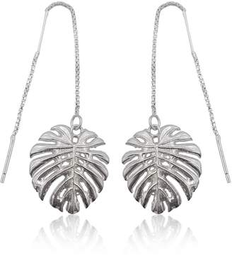 8ce68092e Eliza J Bautista - Tropical Leaf Dangling Earrings In Sterling Silver