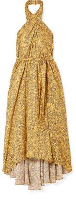 Apiece Apart Wassily Printed Cotton-blend Voile Halterneck Dress - Yellow