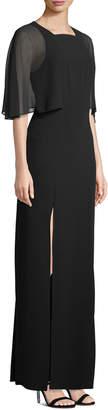 Halston Caplet-Sleeve Slit-Leg Evening Gown