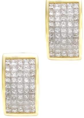 14K Yellow Gold Invisible Set 2.75ctw. Princess Cut Diamond Hoop Earrings