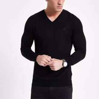 River Island Mens Black slim fit V neck sweater