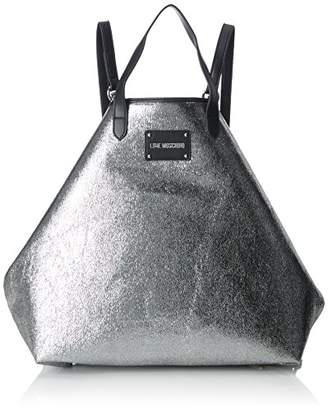 Love Moschino Borsa Glitters Pu Argento, Women's Backpack Handbag,15x35x45 cm (B x H T)