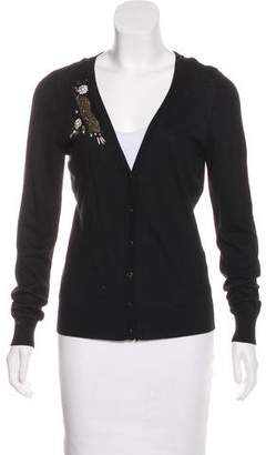 T Tahari Embellished Button-Up Cardigan