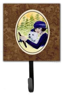 Caroline's Treasures Woman Driving with Her Westie Leash Holder and Key Hook