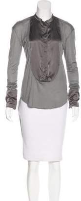 Thomas Wylde Satin-Trimmed Long Sleeve Blouse