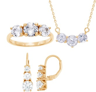 14k Gold Over Sterling Silver Past Present & Future Cubic Zirconia Necklace, Ring & Earring Set