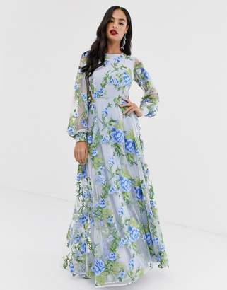 Asos Edition EDITION embroidered maxi dress with open back