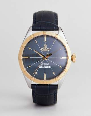 Vivienne Westwood Vv195nvnv Conduit Leather Watch In Navy