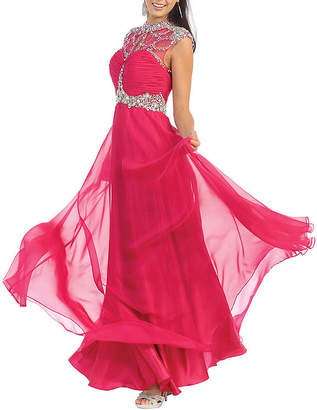 Asstd National Brand Diamond Cutout Back Prom Dress
