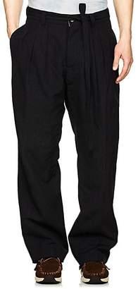 Visvim Men's Hakama Striped Wool-Blend Pleated Trousers - Navy
