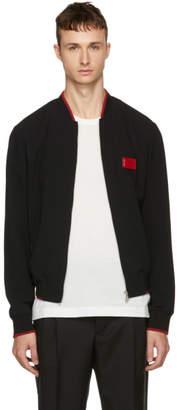 Dolce & Gabbana Black Logo Plaque Bomber Jacket