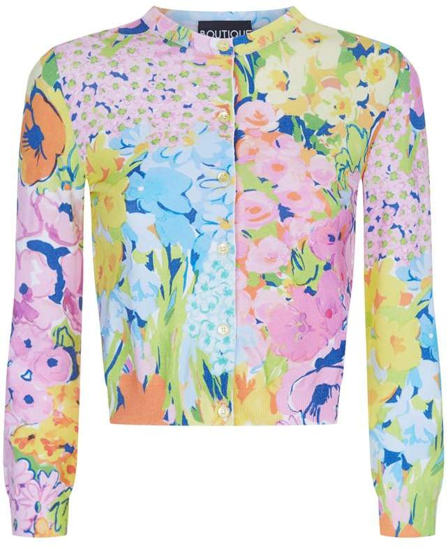 Cropped Floral Cardigan