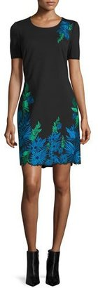Elie Tahari Royce Floral-Embroidered Sheath Dress, Black $498 thestylecure.com