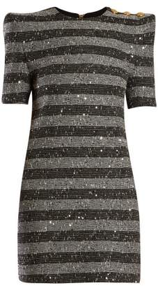 Balmain Striped Metallic Tweed Mini Dress - Womens - Black White