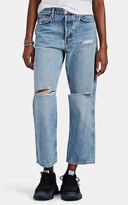RE/DONE Women's Low Slung Crop Distressed Jeans - Blue