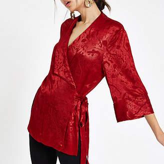 River Island Red jacquard tie wrap front kimono