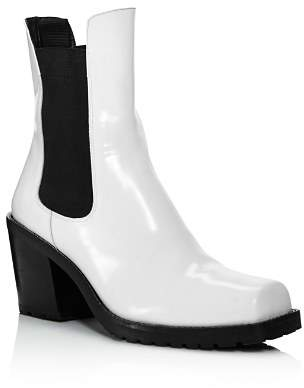 Creatures of Comfort Women's Crawford Square Toe Patent Leather Mid-Heel Booties