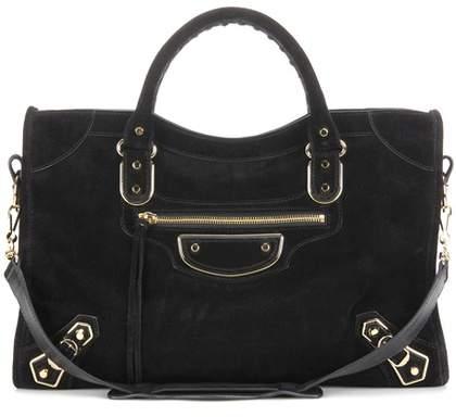 Balenciaga Classic Metallic Edge City suede shoulder bag