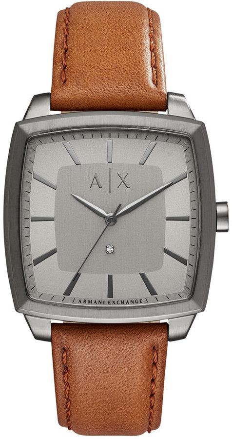 Armani Exchange A X Armani Exchange Men's Diamond Accent Brown Leather Strap Watch 40x40mm AX2363