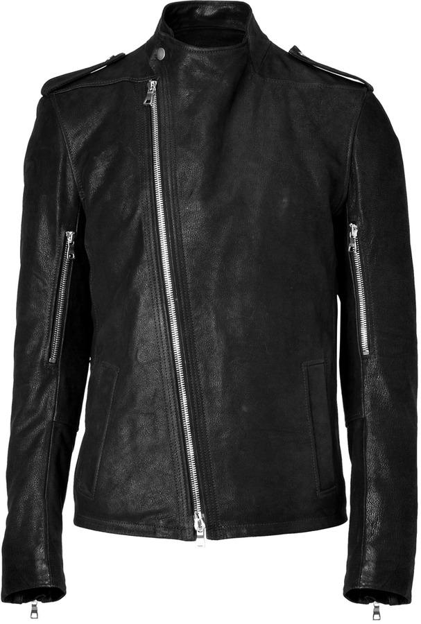 Balmain Black Grainy Leather Biker Jacket