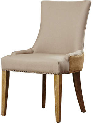 BEIGE Brayden Studio Alpha Centauri Upholstered Side Chair in Linen - Two Toned with Carpenter Nailheads