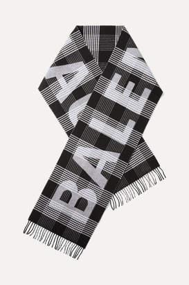 Balenciaga Fringed Checked Intarsia Wool Scarf - Black
