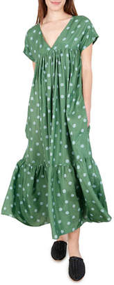 Whit Gillian Polka Dot Short-Sleeve Maxi Dress