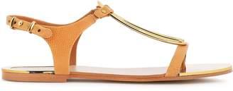 DKNY Embellished Snake-effect Leather Sandals