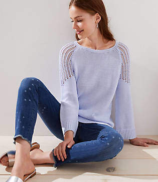LOFT Petite Open Knit Shoulder Sweater