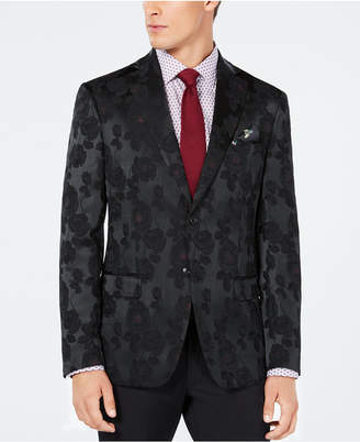 Tallia Men Slim-Fit Black/Burgundy Floral Jacquard Dinner Jacket