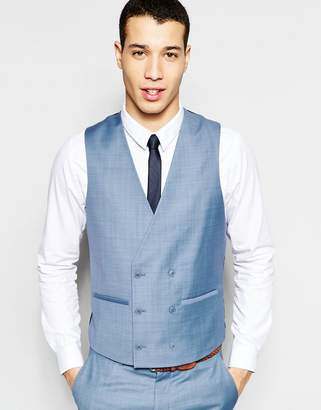 at ASOS Asos Skinny Double Breasted Waistcoat In Blue