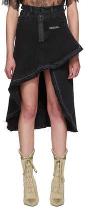 Off-White Black Asymmetric Denim Skirt