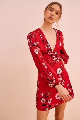 Keepsake DARKNESS LONG SLEEVE DRESS scarlet red bloom