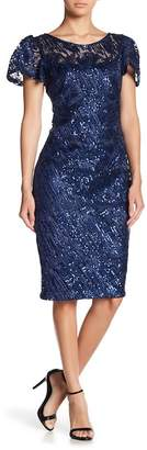 Marina Short Sleeve Sequin Dress