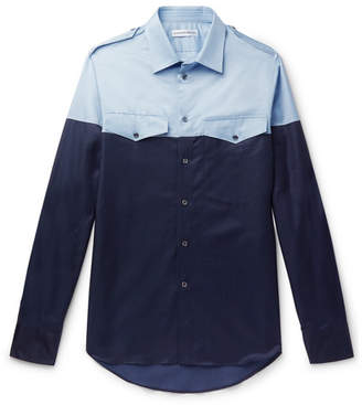 Alexander McQueen Slim-Fit Colour-Block Cotton-Blend Satin-Twill Shirt
