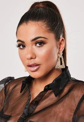 Missguided Gold Look Multi Stone Earrings