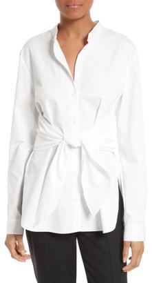 Women's Tibi Satin Poplin Tie Front Shirt $295 thestylecure.com
