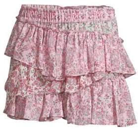 LoveShackFancy Genevieve Floral Tiered Mini Skirt