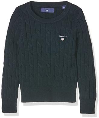 Gant Girl's O. Stretch Cotton Cable Crew Jumper,(Manufacturer Size:134/140)