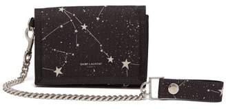 Saint Laurent Buffalo Constellation Print Nylon Wallet - Mens - Black