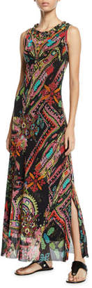Fuzzi Cross-Stitch Mirror Collage Embroidered Maxi Dress