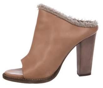 Brunello Cucinelli Shearling-Trimmed Slide Sandals